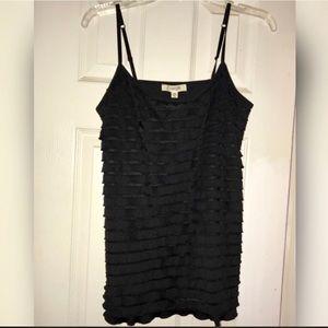 Black ruffled camisole NWT